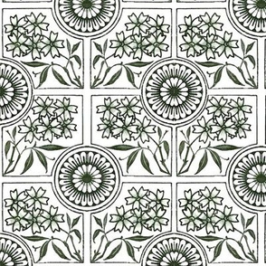 Floral Tiles in Green, Gray and White