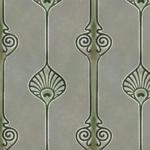 Art Deco Vertical Design in Greens