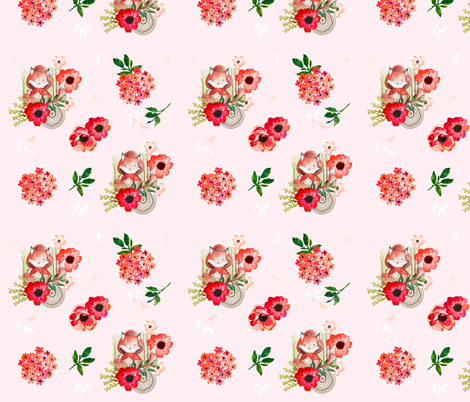 Little Red Fox Pink Background fabric by shopcabin on Spoonflower - custom fabric