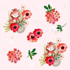 Little Red Fox Pink Background