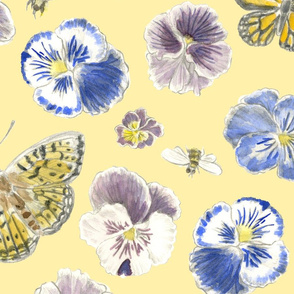 Pansy and Butterflies