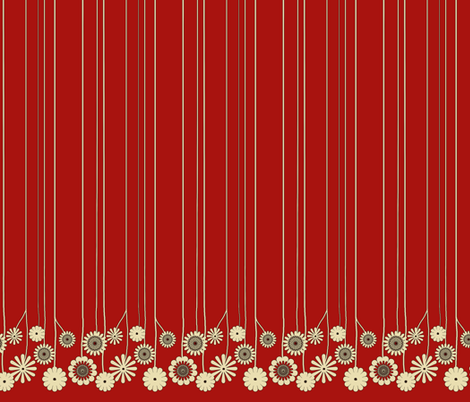 RedFlowerBorder-vertical fabric by mammajamma on Spoonflower - custom fabric