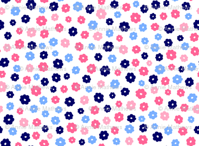 Blue and Pink Flowers on White