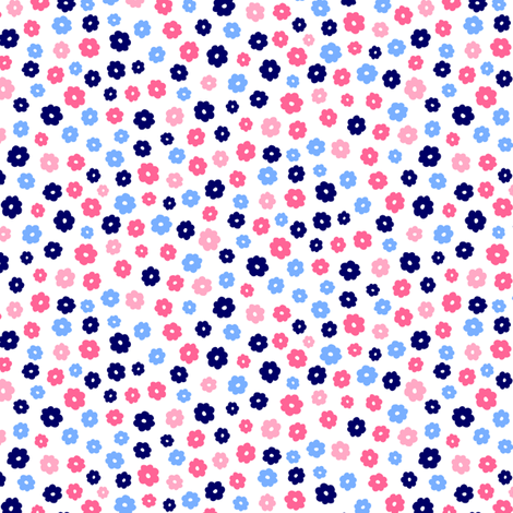 Blue and Pink Flowers on White fabric by anniemathews on Spoonflower - custom fabric