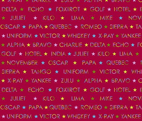 Nautical Alphabet on red fabric by weavingmajor on Spoonflower - custom fabric