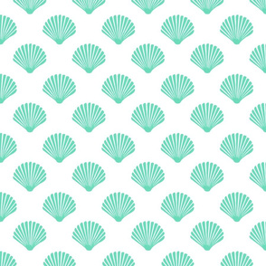 Aquamarine Mermaid Scallop Shell