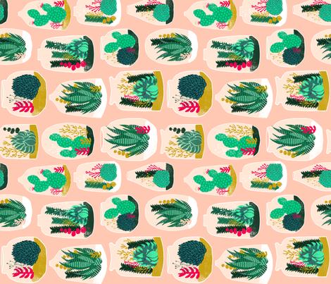 terrariums // railroad sweet little cactus plants houseplants succulents fabric by andrea_lauren on Spoonflower - custom fabric