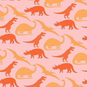 dinosaurs in coral on pink