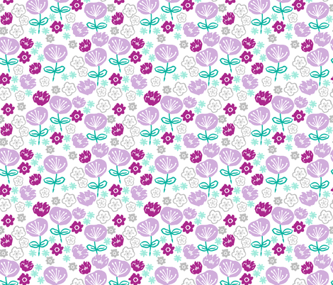spring flowers // flower garden floral purple pastel lilac lavender mint green garden  fabric by andrea_lauren on Spoonflower - custom fabric