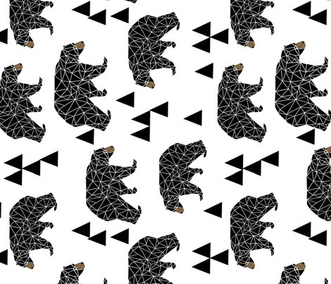 Bear geo bear geometric bear extra large black and for Black and white childrens fabric