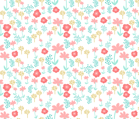 spring // spring flowers florals pastel pretty girls print mint coral pink fabric by andrea_lauren on Spoonflower - custom fabric