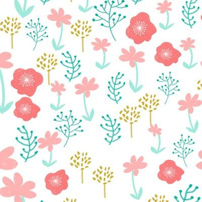 spring // spring flowers florals pastel pretty girls print mint coral pink