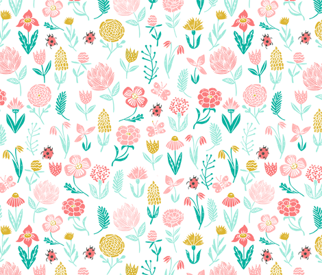 spring garden // botanical sweet girls ladybird ladybug spring flowers floral pink coral yellow mint  fabric by andrea_lauren on Spoonflower - custom fabric