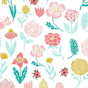 spring garden // botanical sweet girls ladybird ladybug spring flowers floral pink coral yellow mint