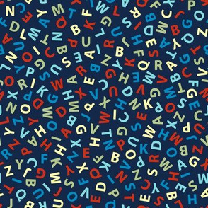 ditsy alphabet on navy