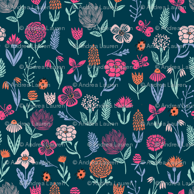spring botanicals // block printed linocut spring wildfloewrs florals flowers cute girly design
