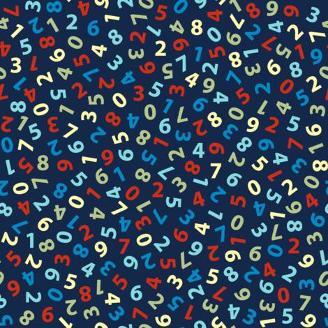 ditsy numbers on navy fabric by weavingmajor on Spoonflower - custom fabric