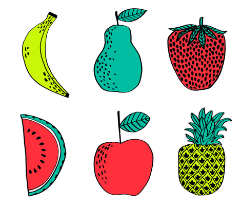 plush fruit // food plush watermelon pineapple strawberry pear apple cute plushie cut and sew food sampler fabric by andrea_lauren on Spoonflower - custom fabric