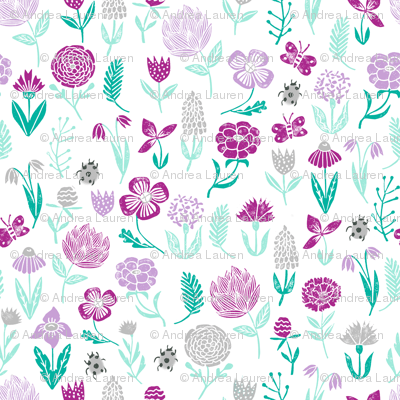 spring botanicals // flowers florals purple pastel lilac mint ladybug cute girly spring print for easter