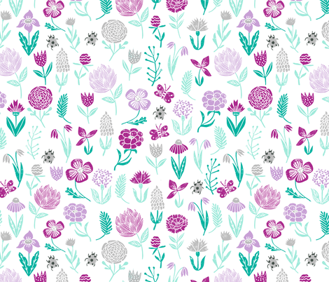 spring botanicals // flowers florals purple pastel lilac mint ladybug cute girly spring print for easter fabric by andrea_lauren on Spoonflower - custom fabric