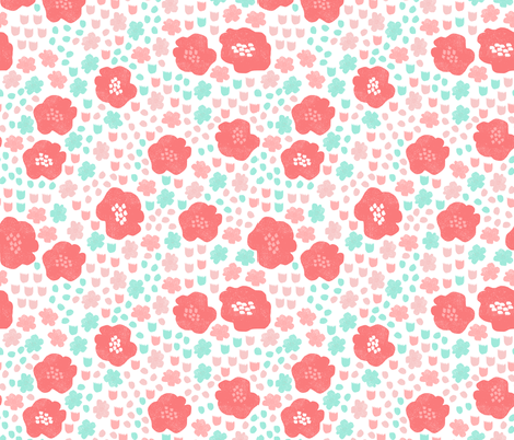 Flowers Mint Pink Coral Flower Pop Florals Spring Girly Pastel