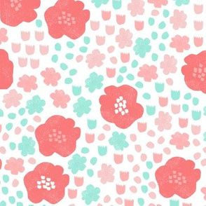 flowers // mint pink coral flower pop florals spring girly pastel cute flowers
