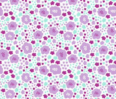 flower pop // purple and mint flowers garden botanical spring summer girly sweet print fabric by andrea_lauren on Spoonflower - custom fabric