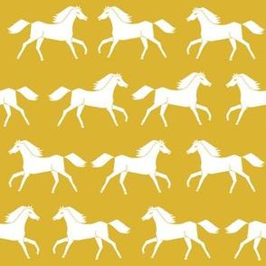 horse // horses golden yellow kids yellow sunny happy girls horse print