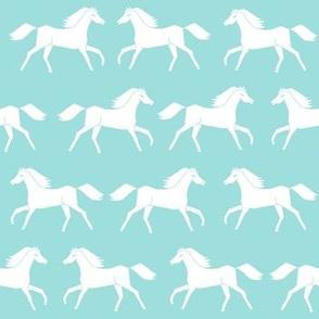 horses // light blue light teal mint green farm farmyard farm animal kids horse