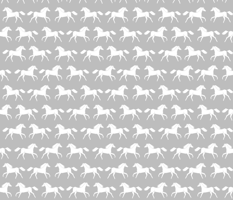 Horses grey minimal kids girls simple horse farm animal for Grey childrens fabric