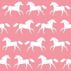 horses // flamingo pink pink horses girls sweet horse fabric