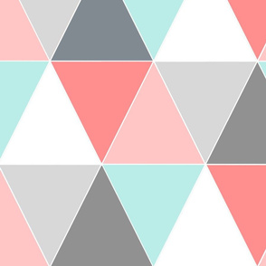 BLUSH AND AQUA TRIANGLE QUILT