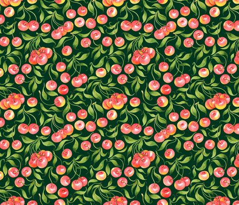 Cherry pattern fabric by achtung on Spoonflower - custom fabric