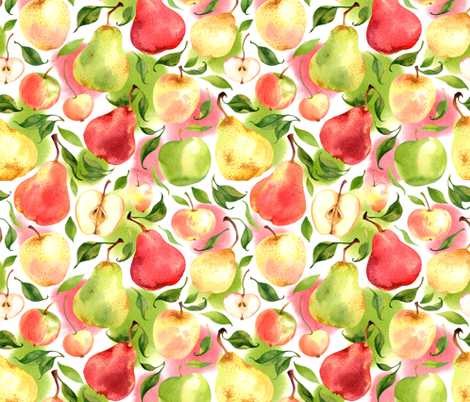 Pears and apples fabric by achtung on Spoonflower - custom fabric