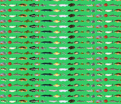23 Amazon River Fish on green fabric by combatfish on Spoonflower - custom fabric