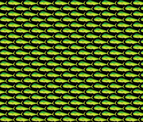 Mahi Dolphinfish on black fabric by combatfish on Spoonflower - custom fabric