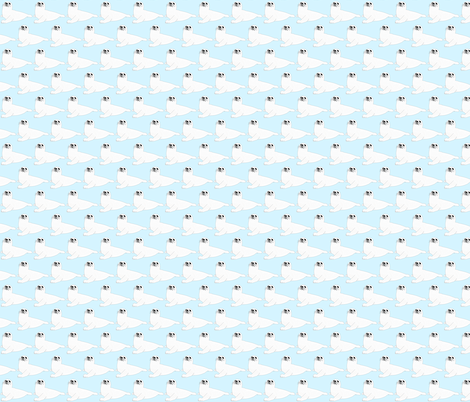 Baby Harp Seal in baby blue fabric by combatfish on Spoonflower - custom fabric