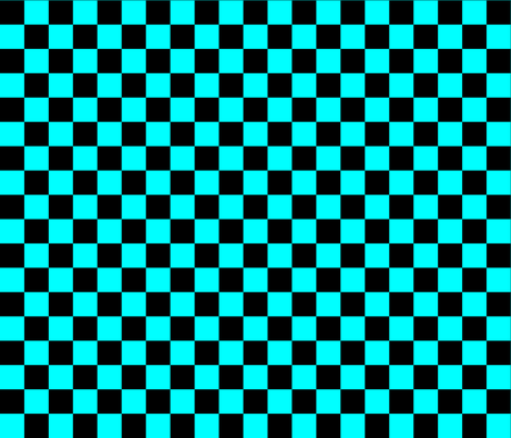 One Inch Black and Aqua Blue Checkered fabric by mtothefifthpower on Spoonflower - custom fabric