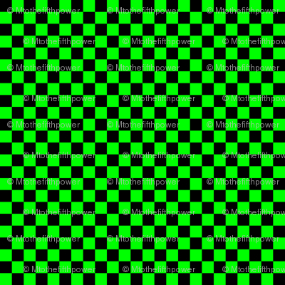 Quarter Inch Black and Lime Green Checkered