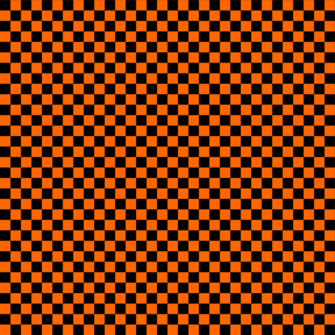 Quarter Inch Black and Orange Checkered fabric by mtothefifthpower on Spoonflower - custom fabric