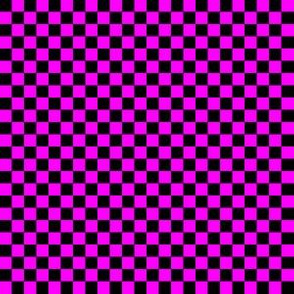 Quarter Inch Black and Magenta Pink Checkered