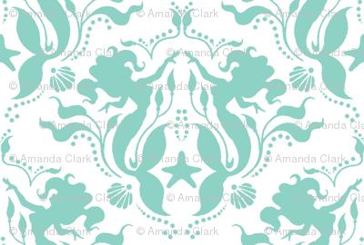 Mermaid Damask Neptune_White