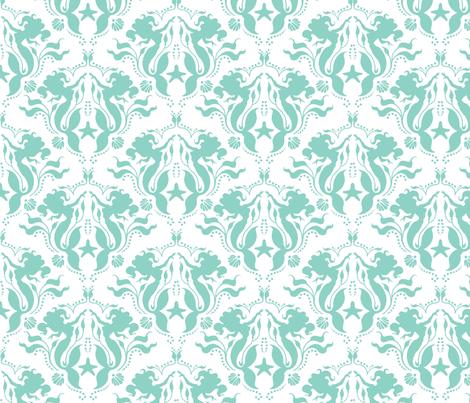 Mermaid Damask Neptune_White fabric by sugarpinedesign on Spoonflower - custom fabric