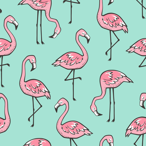 Flamingos Pink on Mint Green fabric by caja_design on Spoonflower - custom fabric