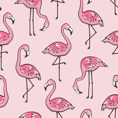 Flamingos in Pink fabric by caja_design on Spoonflower - custom fabric