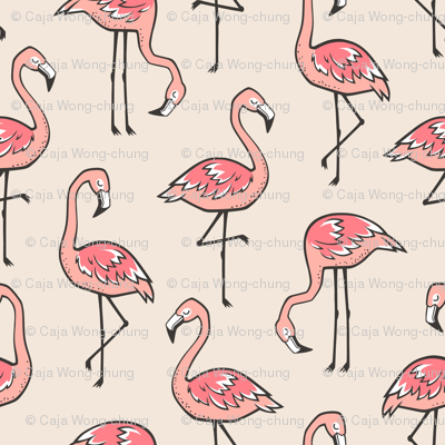 Flamingos in Peach