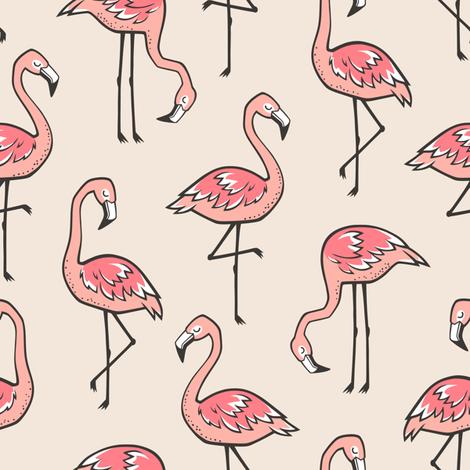 Flamingos in Peach fabric by caja_design on Spoonflower - custom fabric