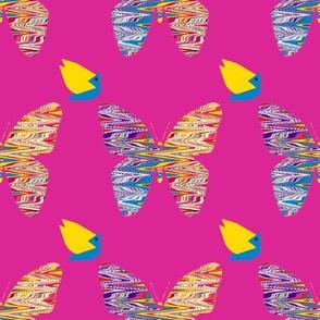 Pinata Birdies and Butterflies on Pink