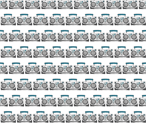Boom boxes on white fabric by angiehiller on Spoonflower - custom fabric