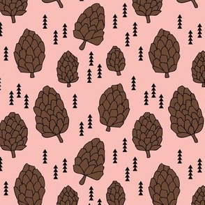 Pine cones winter and fall forest theme in soft pink for girls